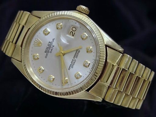 Rolex 14K Yellow Gold Date 1503 Silver Diamond-3
