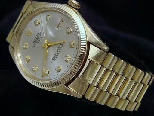 Rolex 14K Yellow Gold Date 1503 Silver Diamond-2