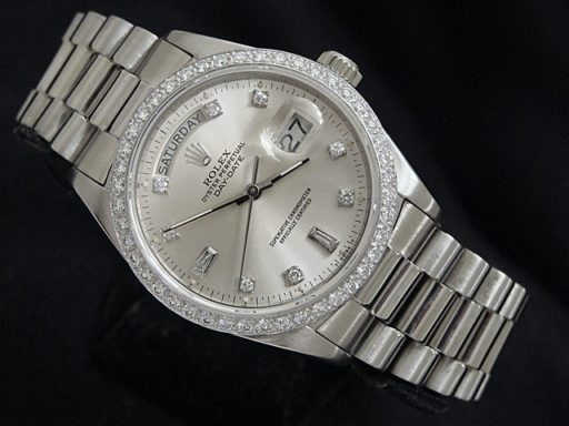 Rolex 18K White Gold Day-Date President 18039 Silver Diamond-7