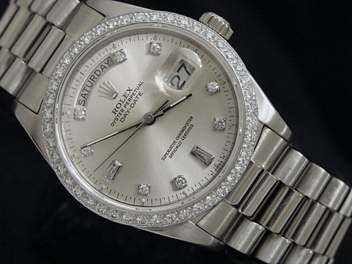 Rolex 18K White Gold Day-Date President 18039 Silver Diamond-6