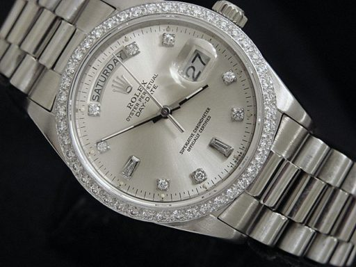 Rolex 18K White Gold Day-Date President 18039 Silver Diamond-5