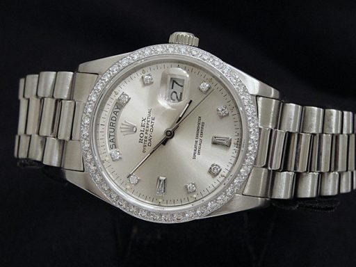 Rolex 18K White Gold Day-Date President 18039 Silver Diamond-4