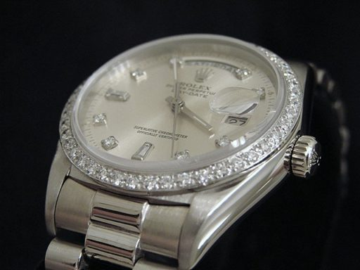 Rolex 18K White Gold Day-Date President 18039 Silver Diamond-3