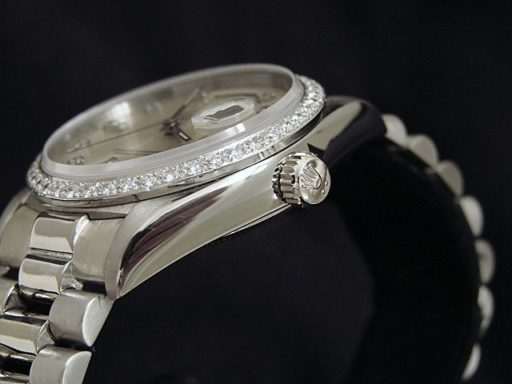 Rolex 18K White Gold Day-Date President 18039 Silver Diamond-2