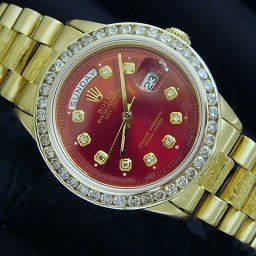 Mens Rolex 18K Gold Day-Date President Red Diamond 1803 (SKU 1803REDMT)