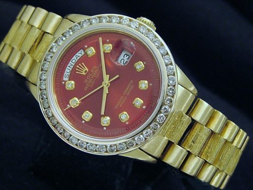 Rolex 18K Yellow Gold Day-Date President 1803 Red Diamond-4