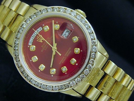 Rolex 18K Yellow Gold Day-Date President 1803 Red Diamond-3