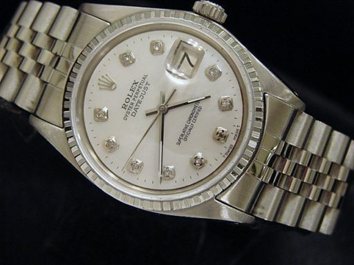 Rolex Stainless Steel Datejust 1603 White MOP Diamond-3