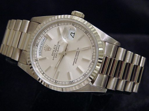 Rolex 18K White Gold Day-Date President 18239 Silver -6