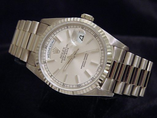 Rolex 18K White Gold Day-Date President 18239 Silver -5