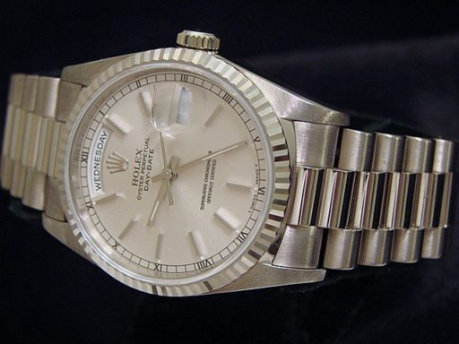 Rolex 18K White Gold Day-Date President 18239 Silver -3