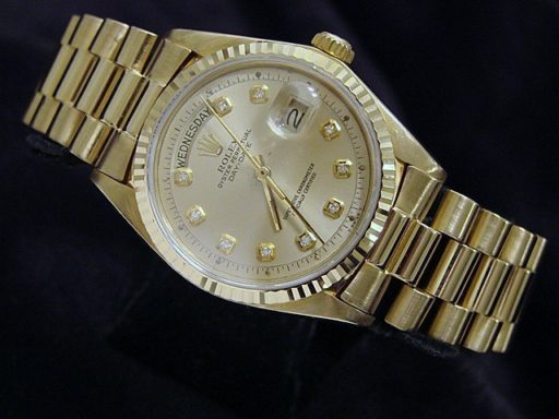 Rolex 18K Yellow Gold Day-Date President 1803 Champagne Diamond-4