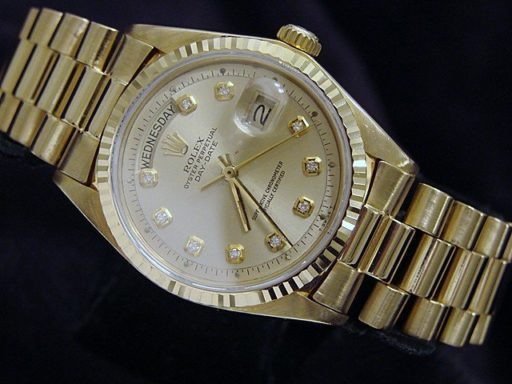 Rolex 18K Yellow Gold Day-Date President 1803 Champagne Diamond-3