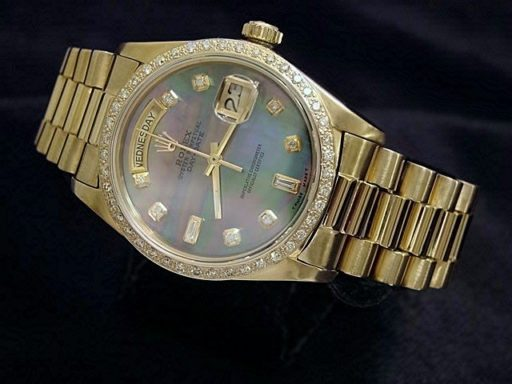Rolex 18K Yellow Gold Day-Date President 18038 Tahitian MOP Diamond-6