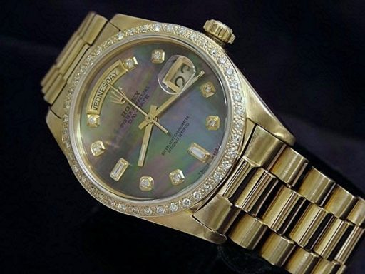 Rolex 18K Yellow Gold Day-Date President 18038 Tahitian MOP Diamond-4
