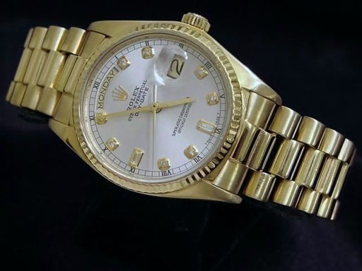 Rolex 18K Yellow Gold Day-Date President 18038 Silver Diamond-4