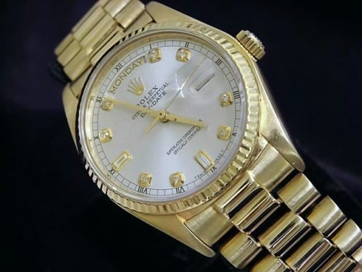 Rolex 18K Yellow Gold Day-Date President 18038 Silver Diamond-3