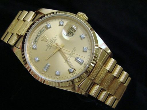 Rolex 18K Yellow Gold Day-Date President 18038 Champagne Diamond-5