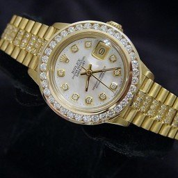 Ladies Rolex 18K Yellow Gold Datejust President Full Diamond White  6917 (SKU 6241148MT)