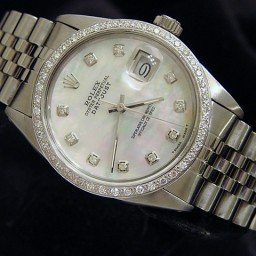 Mens Rolex Stainless Steel Datejust White MOP Diamond 16030