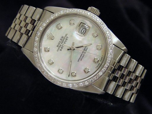 Rolex Stainless Steel Datejust 16030 White MOP Diamond-4