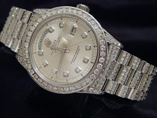 Rolex 18K White Gold Day-Date President 1803 Full Diamond-7