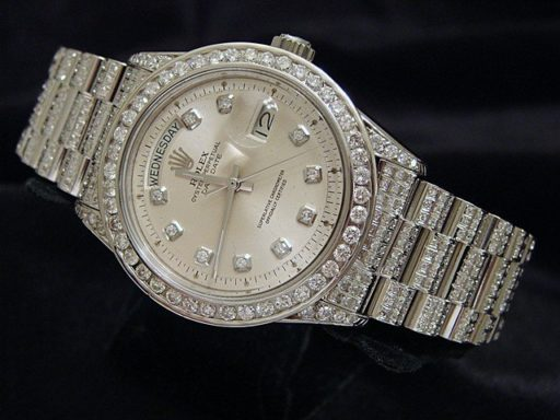 Rolex 18K White Gold Day-Date President 1803 Full Diamond-6