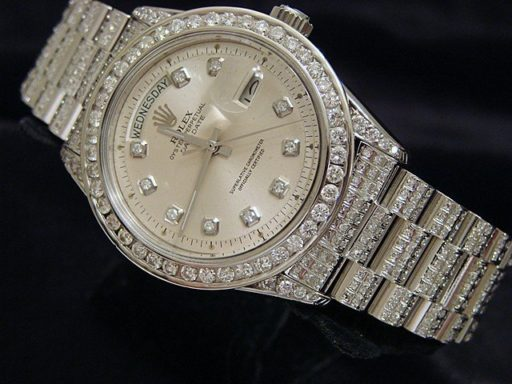 Rolex 18K White Gold Day-Date President 1803 Full Diamond-5