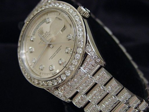 Rolex 18K White Gold Day-Date President 1803 Full Diamond-3
