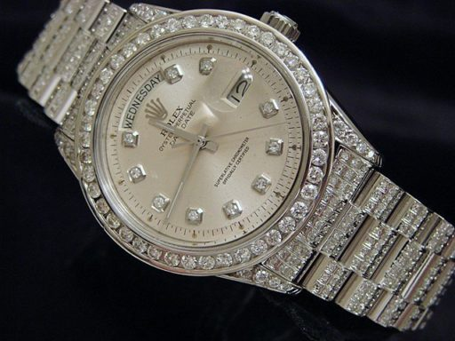 Rolex 18K White Gold Day-Date President 1803 Full Diamond-2