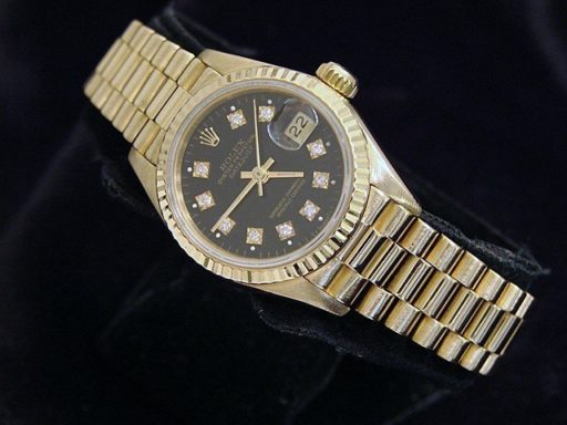 Rolex Yellow Gold Datejust President Diamond 69178 Black-5