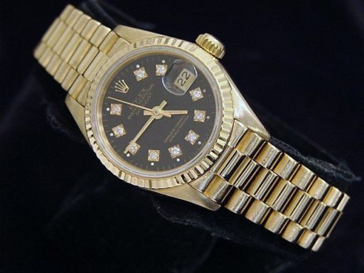 Rolex Yellow Gold Datejust President Diamond 69178 Black-4