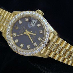 Ladies Rolex 18K Yellow Gold Datejust President Full Diamond Blue  69178 (SKU 8349633MT)