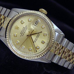 Mens Rolex Two-Tone 14K/SS Datejust Champagne Diamond 16013