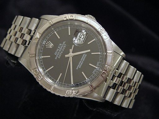 Rolex Stainless Steel Datejust 16264 Black Turn-O-Graph-4