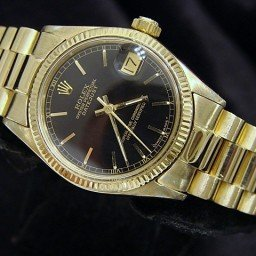 Pre Owned Mid-Size Rolex Yellow Gold Datejust President with a Black Dial 6827 (SKU 6827BAPBM)