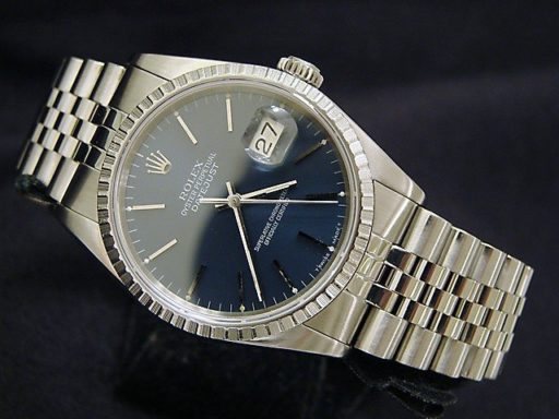 Rolex Stainless Steel Datejust 16220 Blue -7