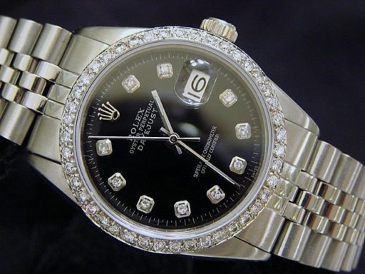 Rolex Stainless Steel Datejust 1603 Black Diamond-3
