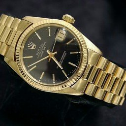 Pre Owned Mid-Size Rolex Yellow Gold Datejust President with a Black Dial 6827 (SKU 7097781M)