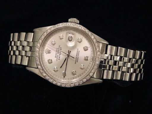 Rolex Stainless Steel Datejust 1603 Silver Diamond-5