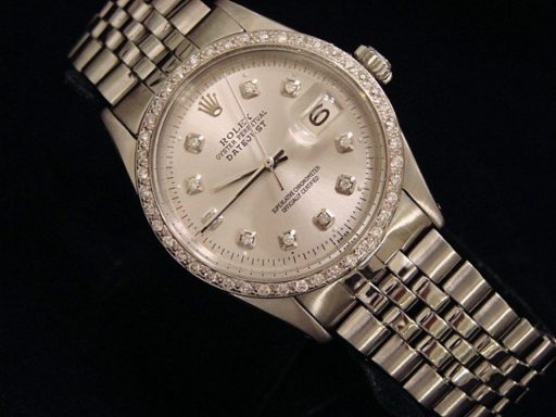 Rolex Stainless Steel Datejust 1603 Silver Diamond-4