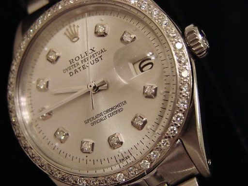 Rolex Stainless Steel Datejust 1603 Silver Diamond-3