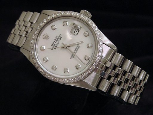 Rolex Stainless Steel Datejust 16030 White MOP Diamond-5
