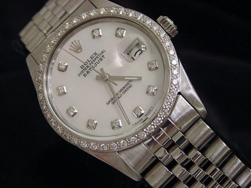 Rolex Stainless Steel Datejust 16030 White MOP Diamond-3