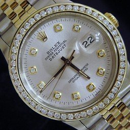 Mens Rolex Two-Tone 18K/SS Datejust Silver Diamond 16013