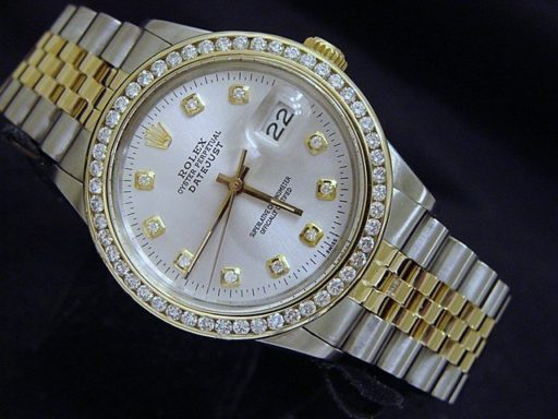 Rolex Two-Tone Datejust 16013 Silver Diamond-1