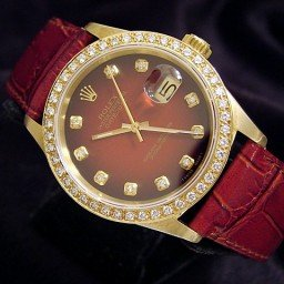 Pre Owned Mens Rolex Yellow Gold Datejust Diamond Red 16018