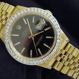 Pre Owned Mens Rolex Yellow Gold Datejust Diamond with a Black Dial 16238 (SKU 16238111MT)