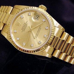 Mid Size Rolex 18K Yellow Gold Datejust President Champagne Diamond 68278 (SKU R541045MT)