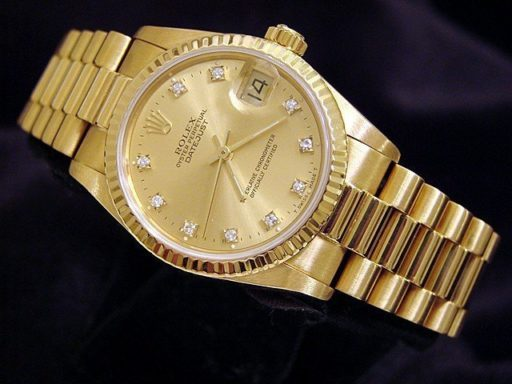 Rolex Yellow Gold Datejust President 68278 Champagne Factory Diamond-5